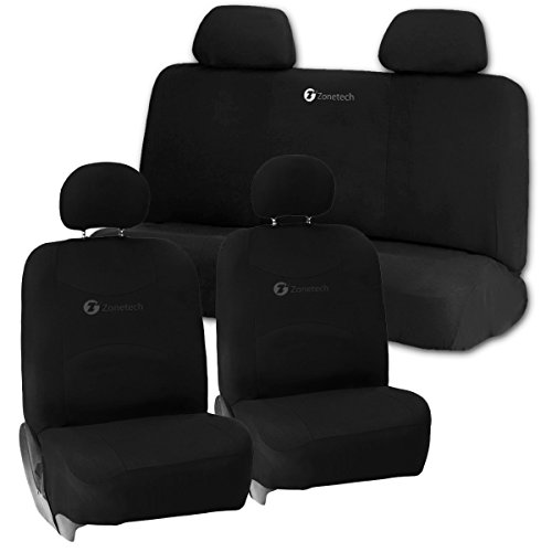 Zone Tech Universal Foam Car Seat Covers - 2 Black Front Bucket Covers and 1 Black Solid Bench Cover (Minivan Bucket Seat Covers compare prices)