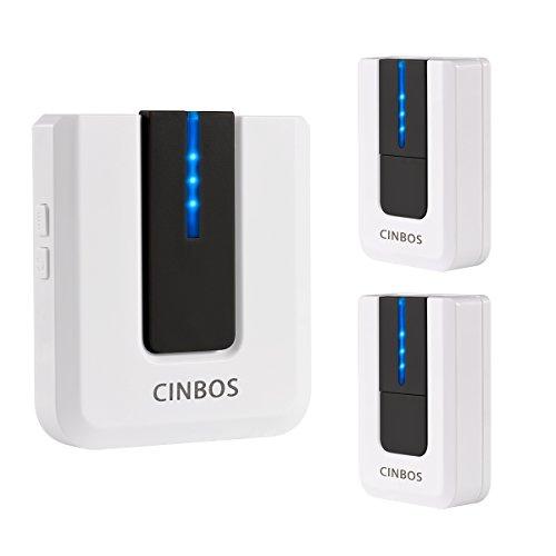 [해외]Cinbos 무선 초인종 가정용 / 사무실 용, 1000 피트 장거리, 52 개 차임, 4 레벨 볼륨, LED 라이트, 2 개의 원격 버튼 및 1 개의 플러그 인 수신기/Cinbos Wireless Doorbell For Home/Office, 1000 Feet Long Range, 52 Chimes, 4 Levels Volume, L...