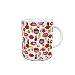 White Ceramic Mug with Lips Hearts and Stars Pattern Design 212