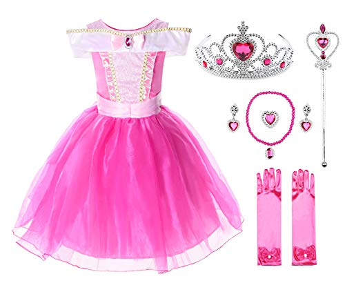 JerrisApparel Girls Princess Aurora Costume Dress Pageants Party Fancy Dress (Knee Length with Accessories, 5)