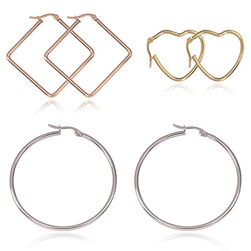 3 Pairs Hoop Earrings for Women Hypoallergenic Round Square Heart Shape Statement Girls Earring with 18K Gold Plated
