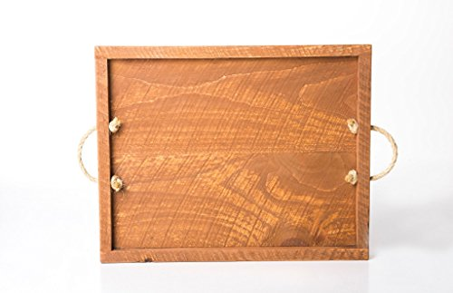 Rooms Organized Large Rectangle Rustic Pine Wood Food Wine Serving Tray with Handles Decorative Ottoman Breakfast Trays for New Homeowners Gift Ideas Hand Crafted in The USA -