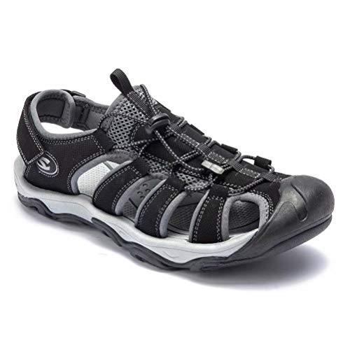 HOBIBEAR Men Outdoor Hiking Sandals Breathable Athletic Climbing Summer Beach Shoes Black-b Size 7 (Fisherman Toe Closed Sandal)