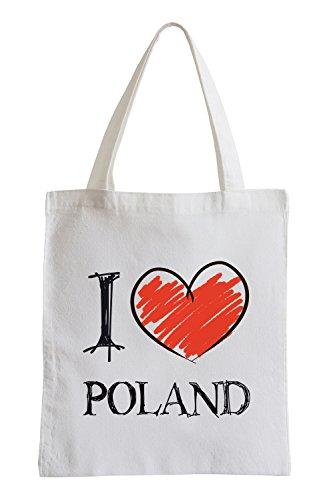 Amo la Polonia Fun sacchetto di iuta