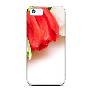 LJF phone case Fashion RLVNpdb6160LpKtr Case Cover For Iphone 5c(white Red Tulips)