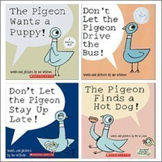 - Pigeon Pack (4 Book Set) (The Pigeon Finds a Hot Dog!; Don't Let Pigeon the Stay Up Late!; The Pigeon Wants a Puppy!; Don't Let the Pigeon Drive the Bus!) by Mo Willems (2010-05-03)