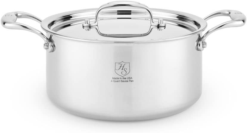 Heritage Steel 4 Quart Sauce Pot - Titanium Strengthened 316Ti Stainless Steel with 5-Ply Construction - Induction-Ready and Dishwasher-Safe, Made in USA
