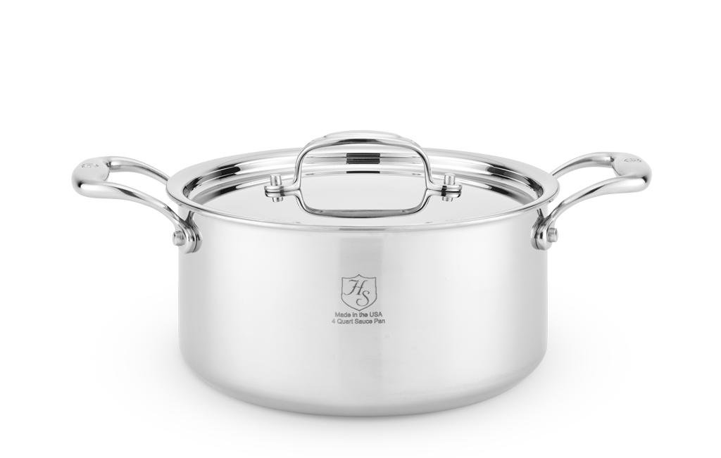 American Clad 7-Ply Stainless 4 Qt Sauce Pot with Lid