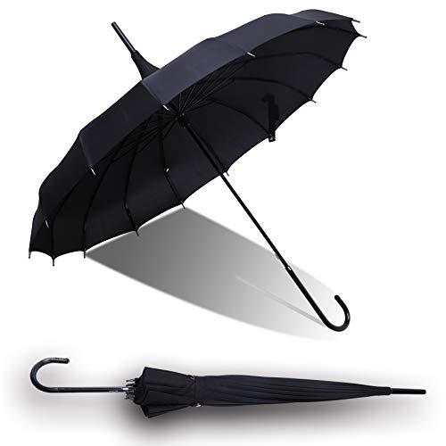 (QUEENSHOW Pagoda Umbrella Retro Travel Stick Umbrella with Hook Handle Auto Open for Sun & Rain Protection, Black)