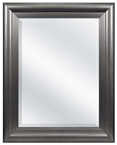 MCS 18 x 24 Inch Beveled Wall Mirror, 24.5 x 30.5 Inch, Two-Tone Pewter Finish (83047) ()