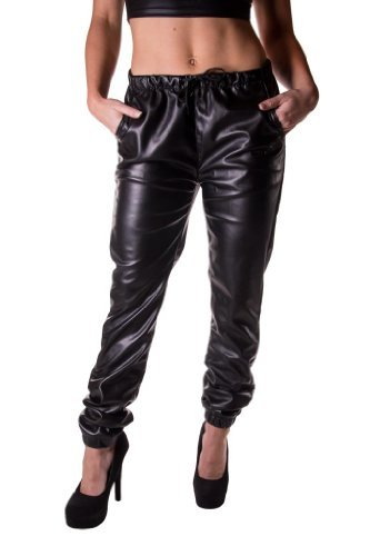 Unleaded Women's Faux Leather Elastic Waist Jogger Pant 5 Black