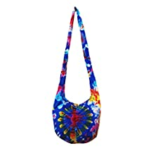 Thai Hippie Tie Dye Hobo Sling Crossbody Shoulder Bag Purse Handmade Mix Pattern Cotton Button Gypsy Boho Messenger Small