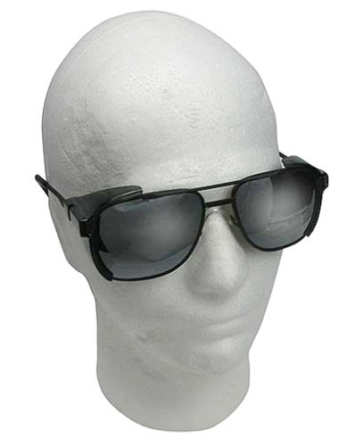 - Metal Framed Aviator Styled Dark Tinted Safety Glasses with Side Shields
