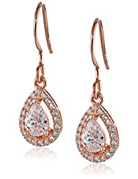 Sterling Silver Teardrop Cubic Zirconia Halo Drop Earrings (0.7 cttw)