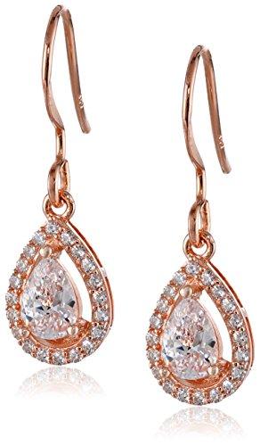 14k Rose Gold Plated Sterling Silver Cubic Zirconia Halo Teardrop Earrings (0.7 cttw)