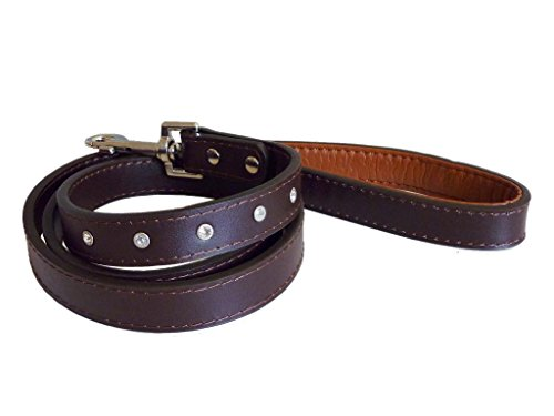 The Paws Diamante Leather Dog Lead - Brown
