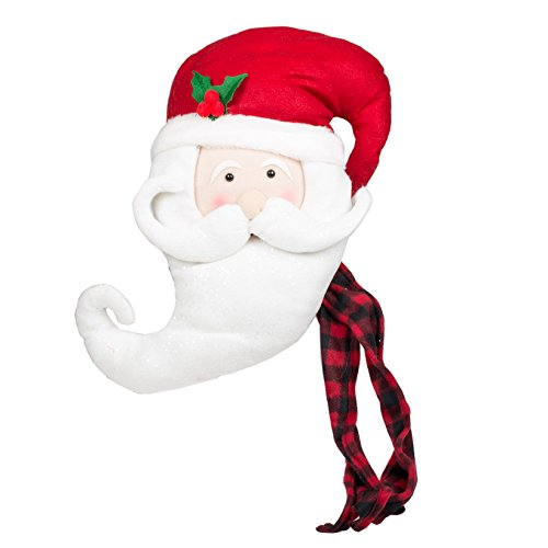 Santa Claus Head with Buffalo Plaid Scarf 17 x 12 Plush Fabric Christmas Tree (Santa Claus Head)
