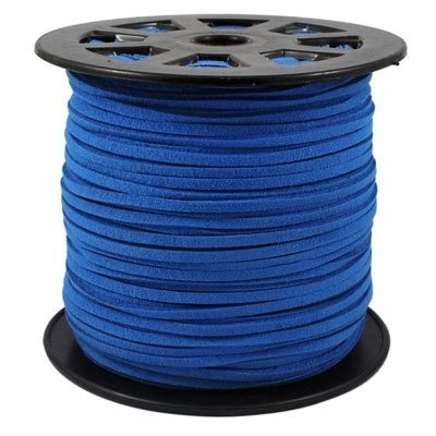 BeadsTreasure Cornflower Blue Suede Cord Lace Leather Cord For Jewelry Making 3x1.5 mm-20 Feet. - Blue Leather Cord