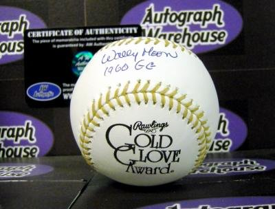 Inscribed Gold Glove (Autograph Warehouse 67075 Wally Moon Autographed Baseball Gold Glove Inscribed 1960 Gg)