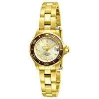 Reloj invicta 12527 Pro-Diver de 18 quilates de oro enchapado en ión de oro para mujer y esfera de champán.