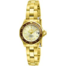 Invicta Women's 12527 Pro-Diver 18k Gold Ion-Plated Stainless Steel and Champagne Dial Bracelet Watch