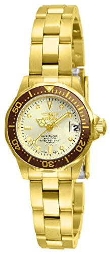 (Invicta Women's 12527 Pro-Diver 18k Gold Ion-Plated Stainless Steel and Champagne Dial Bracelet Watch )