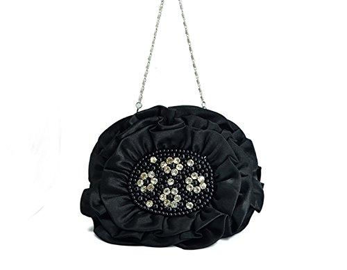 Bolsa De Embrague Festivo Nueva Flor Bolso De La Cena Bolsa De Satén De Seda De La Novia La Dama De Honor Black