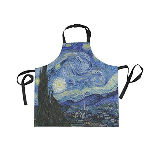 WIHVE Van Gogh Apron, Starry Night Moon Painting Style Unisex Kitchen Adjustable Bib Apron with Pockets for Cooking Baking Gardening, 27.5x29 in -