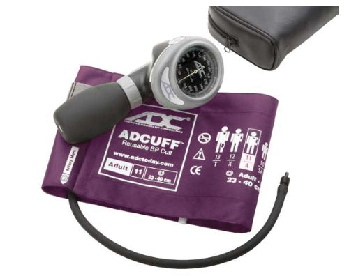 ADC Diagnostix 703 Palm Style Aneroid Sphygmomanometer with Adcuff Nylon Blood Pressure Cuff, Adult, Purple