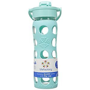 Lifefactory 16-Ounce BPA-Free Glass Water Bottle with Flip Cap and Silicone Sleeve, Turquoise