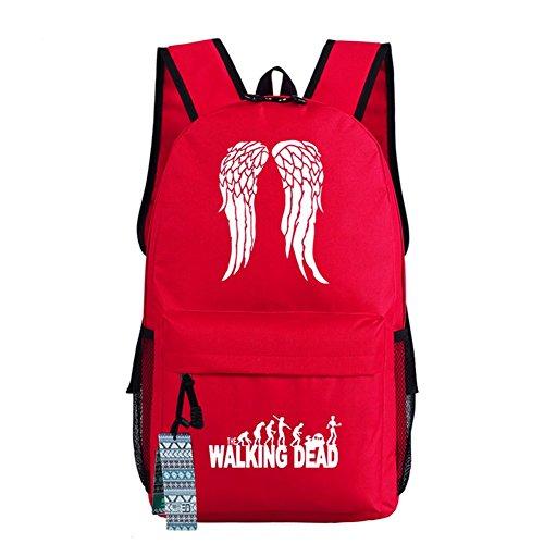 The Walking Dead Cosplay beiläufige Beutel-Rucksack-Schultasche-leuchtende Tasche 18 Wahlen rote Flügel