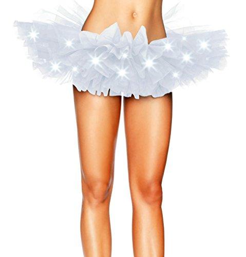 Aimerfeel intime Mini Tutu Ballet Femmes Multicouche Ruffle Frilly Petticoat Jupe certains avec des lumires LED, taille unique 34-42 blanc+LED