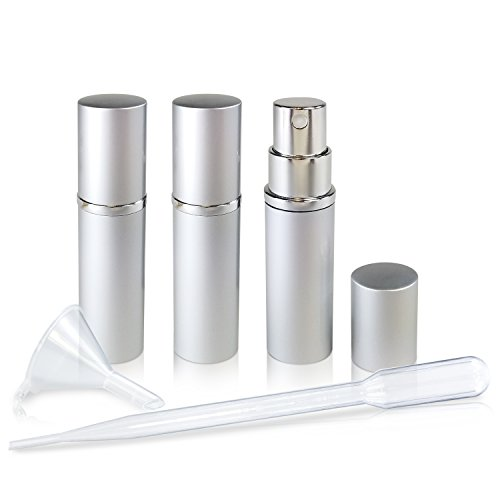Refillable Glass Perfume & Cologne Fine Mist Atomizers with Metallic Exterior - Portable Travel Size - 3ml Squeeze Transfer Pipette Included - 3 Pc Pack of 5ml (Men Fine Cologne Spray)
