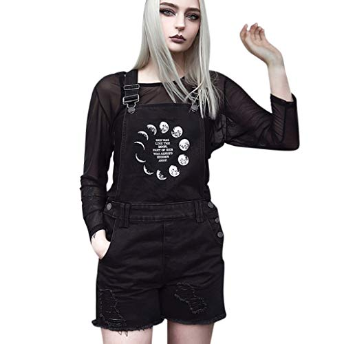 Suma-ma Women Gothic Punk Style Denim Overalls Jumpsuit, Ladies Letter Moon Printed Ripped Rompers Fashion Casual Short Playsuits(Black,M)