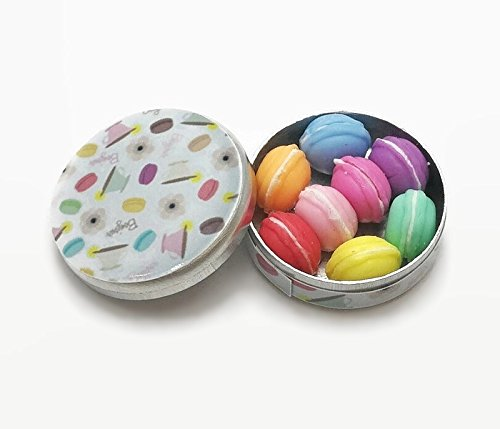 Dollhouse Miniature 8 Macarons in Round Box from Unbranded