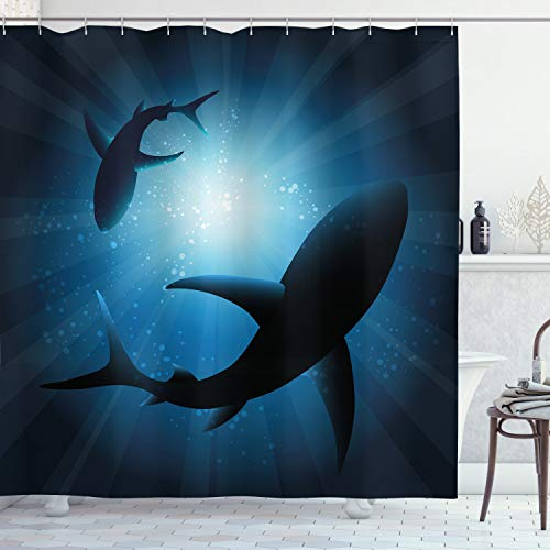 Ambesonne Shark Shower Curtain, Silhouette of The Fishes Swimming at Twilight Night Moon Mystic Sea Scenery, Cloth Fabric Bathroom Decor Set with Hooks, 75
