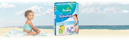 Swim Diapers Size 5 (> 31 lb) - Pampers Splashers Disposable Swim Pants, Large, Pack of 2 (Twinpack), 17 Count