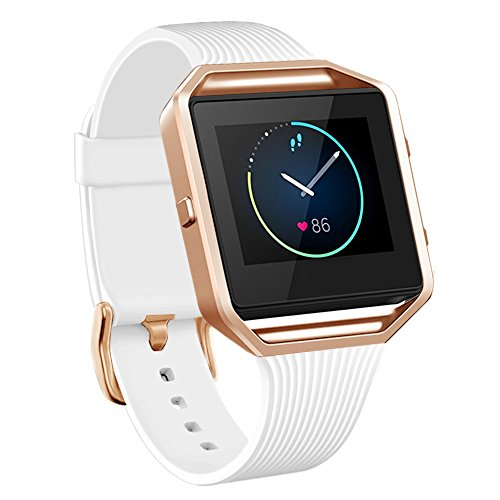 NaHai Compatible Fitbit Blaze Slim Bands with Frame, TPU Replacement Sport Strap with Rose Gold Frame for Fitbit Blaze Smart Fitness Watch, Large Small (Rose Gold Frame + White Band)