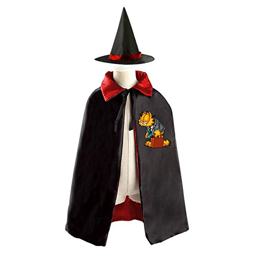 Halloween Garfield Wizard Witch Kids Childrens' Cape With Hat Party Costume Cloak Red