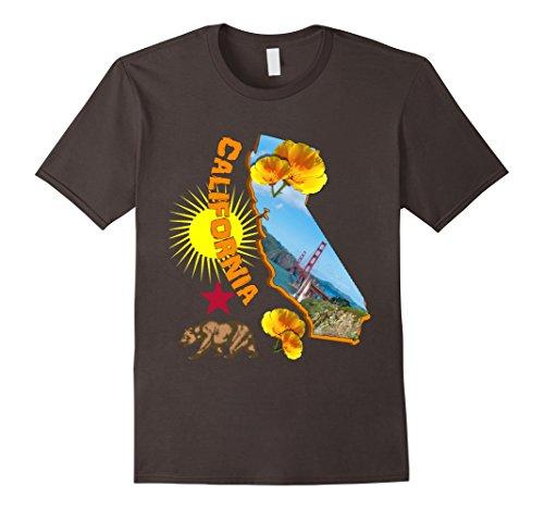 Mens California Map Sunny Yellow Poppies Graphic T-Shirt ...