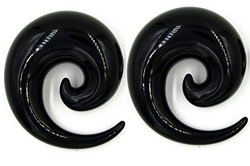 Zaya Body Jewelry Pair of Black Ear Plugs Tapers Spirals Horseshoes Tapers Gauges 16mm 18mm 20mm 24mm 26mm (18mm) (Gauge 18 Tapers)