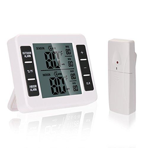 Funk Wetterstation Innen Außen TTMOW Hohe Präzision Digitales Thermometer Raumklimakontrolle mit LCD Display, Temperatur Alarm, MAX MIN Messung, für Zuhause Krankenhaus Bauernhof usw