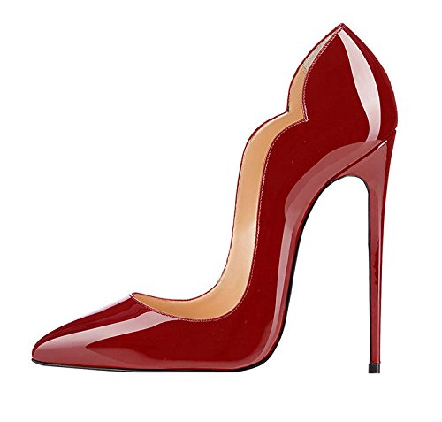 Edefs Dames Top Teen Schoenen 120mm Hoge Hak Pompen Hoge Hak Kleding Schoenen Gesloten Bordeaux