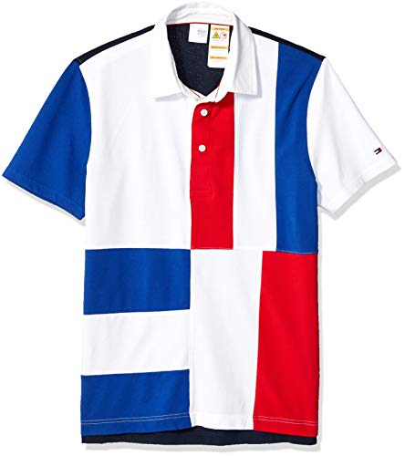 Tommy Hilfiger Men's Adaptive Polo Shirt with Magnetic Buttons Custom Fit, Chinese Red, X Large