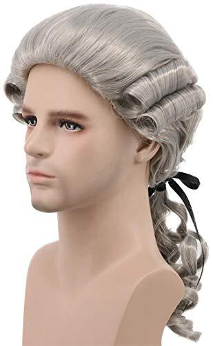 Karlery Colonial Man Long Wave Gray Wig Halloween Costume Wig Anime Cosplay Wig (Gray)