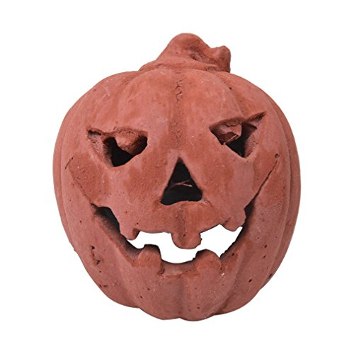 Stanbroil Small Ceramic Carved Pumpkin Gas Log Decoration, Halloween Decor for Indoor and Outdoor Fireplaces and Fire Pits,1-Pack ()