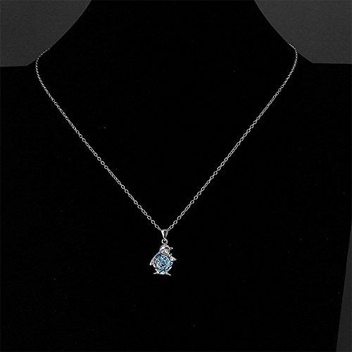 Alliage Bleu 45 cm Pingouin Lumineux Collier avec pendentif Femme Fablcrew