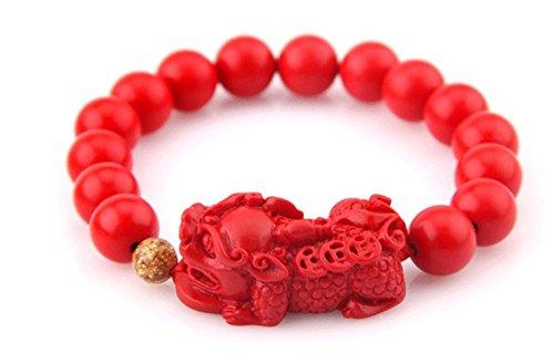 (Wening Chinese Red Cinnabar Beads Bracelet Golden Sand Gold Foil Stretch Bracelet Lucky Gift (Pixiu) (14))