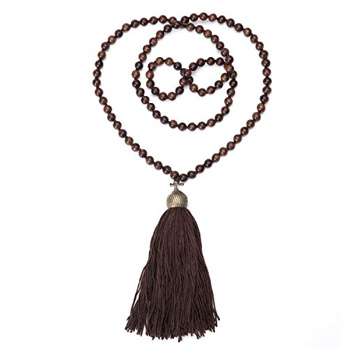 Statement Tassel Long Pendant Necklaces for Women Handmade Wood Bead Buddha Jewelry