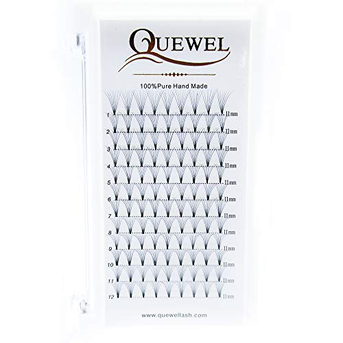 Russian Volume Premade Fans Eyelashes Extension 7D 8D Thickness 0.07mm Curl C/D Length 8-15mm by Quewel(8D-0.07-C-11mm)